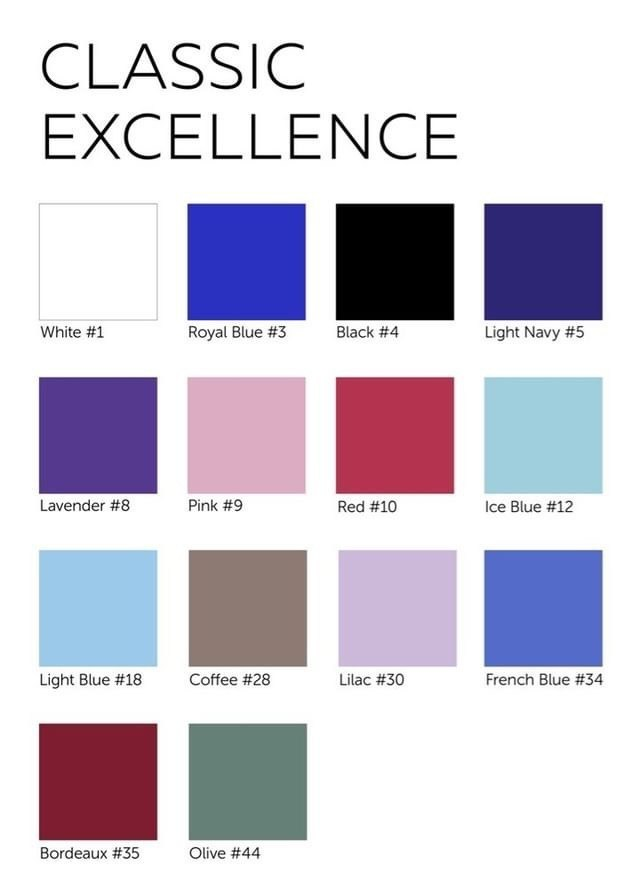 Grishko Nikolay Classic Excellence Colour Chart Color Chart Ballet Wear